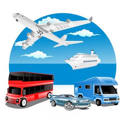 Illustration pour logistics  business concept with delivery transport vehicles and ocean in background - image libre de droit