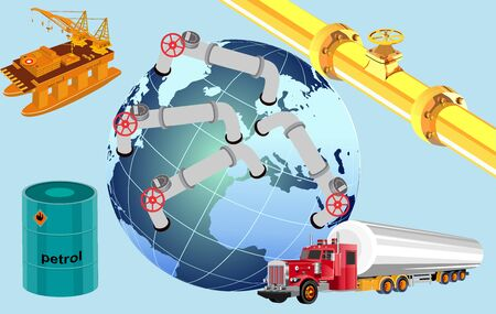 Petrol industry , logistics concept, 3d vector trucks, ship, train, vector illustration