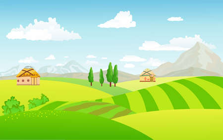 Illustration pour view of spring kazakh village with green meadow on hills with blue sky,  Spring or Summer landscape, Kazakhstan countryside landscape mountains with wild flowers fields - image libre de droit