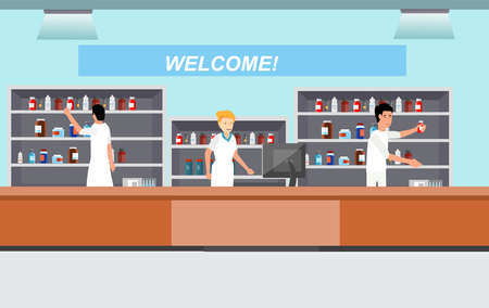 Illustration pour pharmacy with pharmacists. medicine cartoon character dragstore vector illustration - image libre de droit