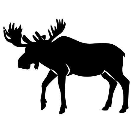 Illustration pour Vector image of elk silhouette - image libre de droit