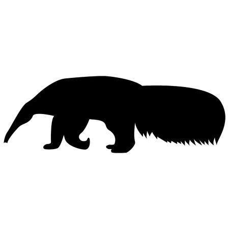Illustration pour Vector image of a silhouette of a ant-eater on a white background - image libre de droit