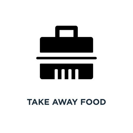 Illustration pour Take away food container icon. Simple element illustration. Fast food delivery concept symbol design, vector logo illustration. Can be used for web and mobile. - image libre de droit