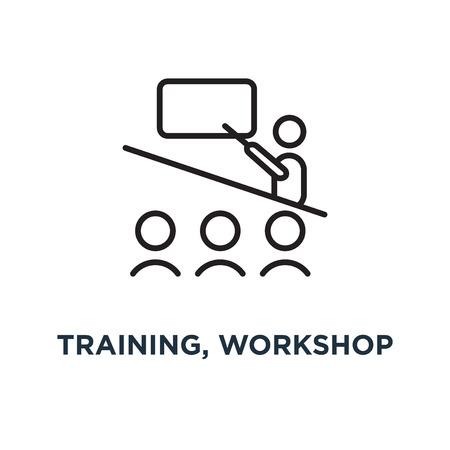 Illustration pour training, workshop linear sign icon. editable eps10 concept symbol design, vector illustration - image libre de droit