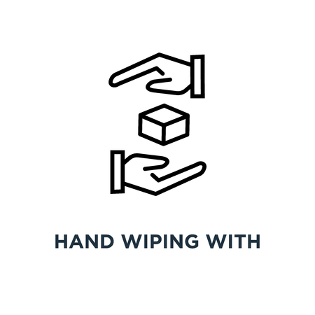 hand wiping with cloth icon. hand wiping with cloth concept symbol design, vector illustration