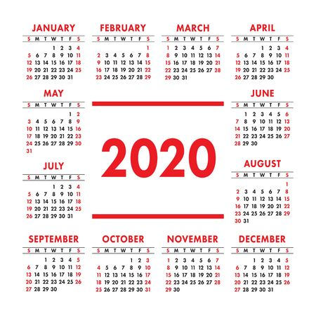 Illustration for Calendar 2020 year. Vector design template. Color English square pocket calender. Week starts on Sunday - Royalty Free Image