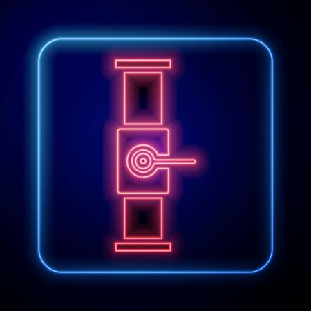 Illustration pour Glowing neon Industry metallic pipe and valve icon isolated on blue background. Vector Illustration - image libre de droit