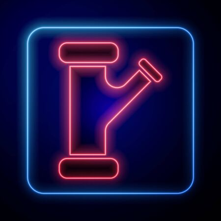 Illustration pour Glowing neon Industry metallic pipe icon isolated on blue background. Plumbing pipeline parts of different shapes. Vector Illustration - image libre de droit