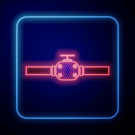 Illustration pour Glowing neon Industry metallic pipes and valve icon isolated on blue background. Vector Illustration - image libre de droit