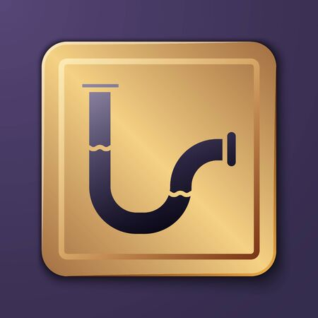 Illustration pour Purple Industry metallic pipe icon isolated on purple background. Plumbing pipeline parts of different shapes. Gold square button. Vector Illustration - image libre de droit