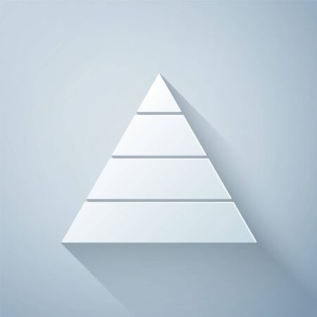 Illustration for Paper cut Business pyramid chart infographics icon isolated on grey background. Pyramidal stages graph elements. Paper art style. Vector Illustration - Royalty Free Image