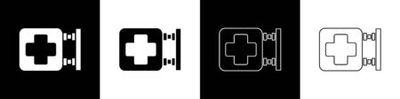 Illustration pour Set Hospital signboard icon isolated on black and white background. Vector Illustration - image libre de droit