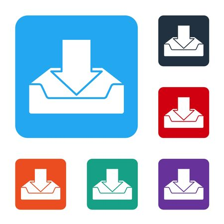 Illustration pour White Download inbox icon isolated on white background. Set icons in color square buttons. Vector Illustration - image libre de droit