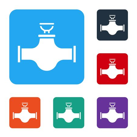 Illustration pour White Industry metallic pipe and valve icon isolated on white background. Set icons in color square buttons. Vector Illustration - image libre de droit