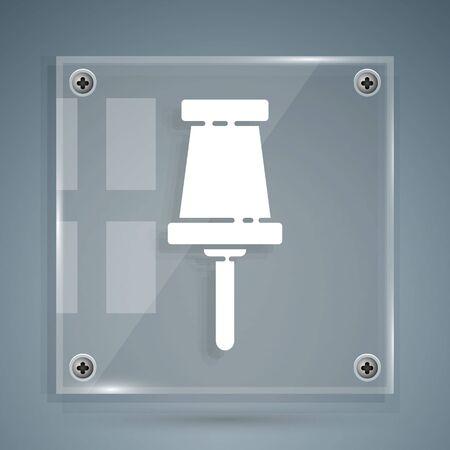 Ilustración de White Push pin icon isolated on grey background. Thumbtacks sign. Square glass panels. Vector Illustration - Imagen libre de derechos