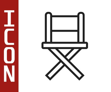 Illustration pour Black line Director movie chair icon isolated on white background. Film industry. Vector Illustration - image libre de droit