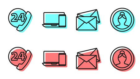 Set line Envelope, Telephone 24 hours support, Monitor and phone and Create account screen icon. Vector