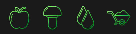 Illustration for Set line Water drop, Apple, Mushroom and Wheelbarrow with dirt. Gradient color icons. Vector - Royalty Free Image