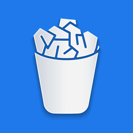 Illustration pour Paper cut Full trash can icon isolated on blue background. Garbage bin sign. Recycle basket icon. Office trash icon. Paper art style. Vector Illustration - image libre de droit