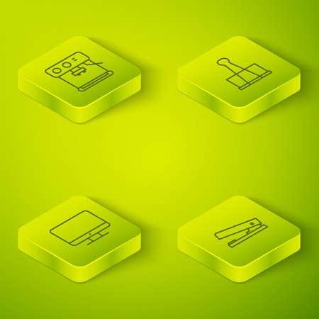 Ilustración de Set Isometric Binder clip, Computer monitor screen, Office stapler and Coffee machine icon. Vector - Imagen libre de derechos