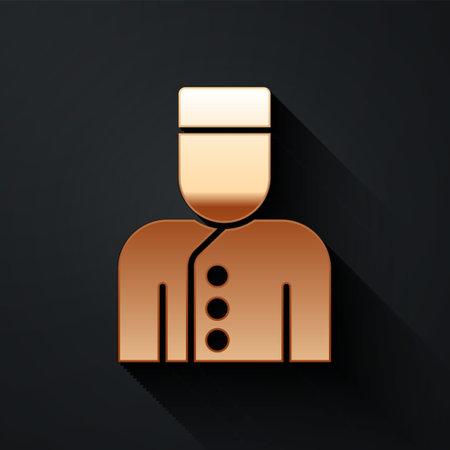 Illustration pour Gold Concierge icon isolated on black background. Long shadow style. Vector - image libre de droit