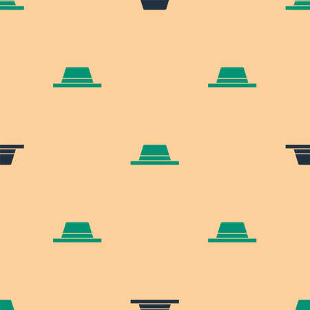 Illustration for Green and black Man hat with ribbon icon isolated seamless pattern on beige background. Vector Illustration - Royalty Free Image