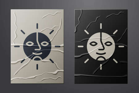 Illustration pour White Sun icon isolated on crumpled paper background. Paper art style. Vector - image libre de droit