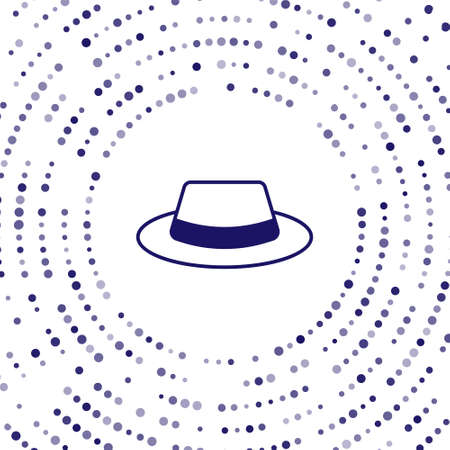 Illustration for Blue Man hat with ribbon icon isolated on white background. Abstract circle random dots. Vector - Royalty Free Image