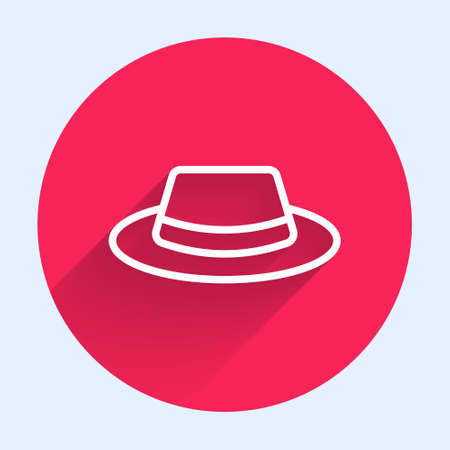Illustration for White line Man hat with ribbon icon isolated with long shadow. Red circle button. Vector - Royalty Free Image