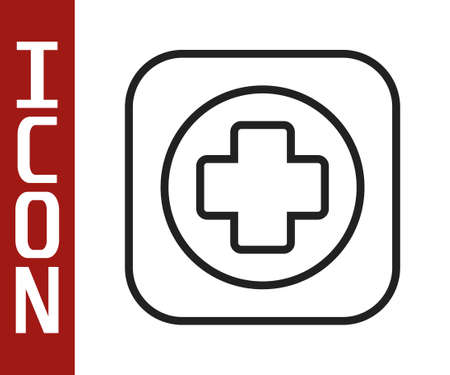 Illustration pour Black line Hospital signboard icon isolated on white background. Vector - image libre de droit