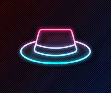 Illustration for Glowing neon line Man hat with ribbon icon isolated on black background. Vector - Royalty Free Image