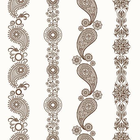Ilustración de Henna borders. Mehndi ornamental henna seamless borders - Imagen libre de derechos