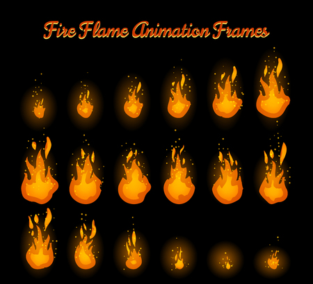 Illustration for Fire flame animation frames for fire trap vector illustration - Royalty Free Image