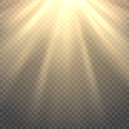 Vector sunlight. Sun beams or sun rays on transparent background