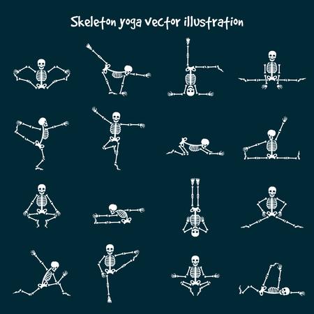Illustration pour Skeleton yoga vector illustration. Comic healthy fitness skeleton - image libre de droit