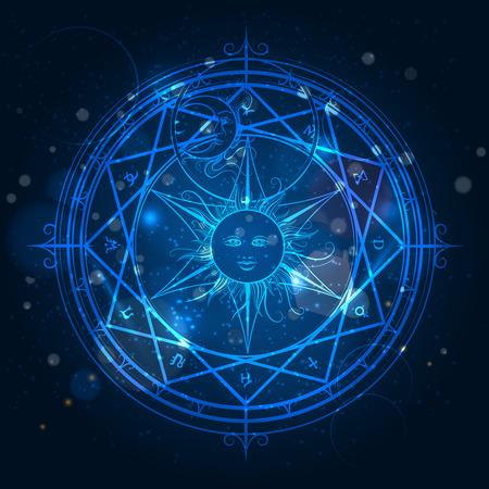Illustration pour Alchemy magic circle on shining blue background. Vector illustration - image libre de droit