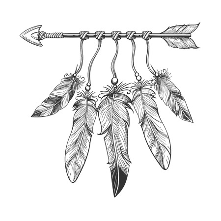 ed9632b94e7dc Vintage nativity hand drawn arrow with feathers. Tribal boho indian  dreamcatche talisman isolated on white