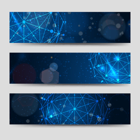 Illustration for Horizontal banners template with abstract sphere and shining backdrop. Vector illustration - Royalty Free Image