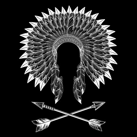 Illustration for Native american indian war bonnet and arrows. Vector illustration - Royalty Free Image