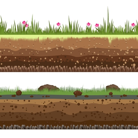Illustration for Underground layers. Dirt and clay vector seamless ground background isolated on white background - Royalty Free Image
