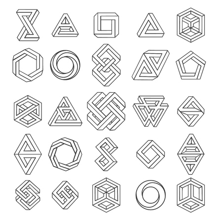 Ilustración de Graphic impossible shapes. Circle, square and triangle symbols with escher paradox impossible geometry geometric graphic, vector illustration - Imagen libre de derechos
