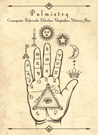 Photo for Vintage palmistry. Esoteric occult symbols on hand, palm of prophecy retro vector illustration - Royalty Free Image