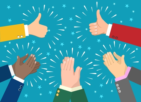 Illustration for Hand claps. Clapping businessman hands vector illustration, human ovation celebrating applause - Royalty Free Image