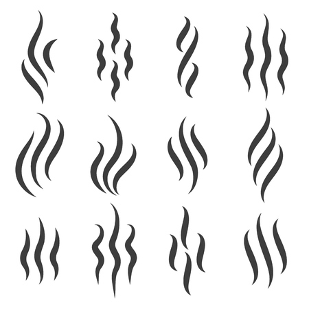Illustration pour Smell icons. Cooking steam or warm aroma smell mark, steaming vapour odour symbols - image libre de droit