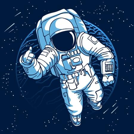 Ilustración de Astronaut. Spaceman in space on moon or earth planet background vector illustration - Imagen libre de derechos