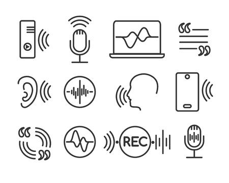 Illustration pour Voice recognition icons. Telephone conversation linear symbols, speech and hearing command pictograms. Sound technology vector signs - image libre de droit