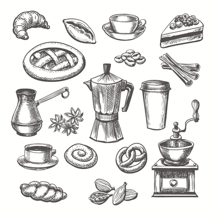 Illustration pour Vintage desserts and coffee sketch. Vector hand drawn sketch sweets and coffee cup and pot set - image libre de droit