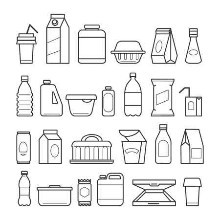 Illustration pour Food package icons. Meal packaging, eating packs, nutrition meat sachet cases and plastic beverage containers, paper pizza boxes, vector ilustration - image libre de droit