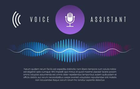 Illustration pour Soundwaves recognition assistant. Speech technology intelligence personal help, sound device controls and home voice assist concept, vector illustration - image libre de droit