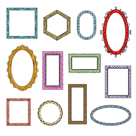 Illustration pour Cartoon flat picture frames. Hanging vintage wooden picture frame icons isolated on white background, creative printed art borders retro vector templates - image libre de droit